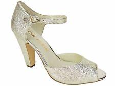 Anne Klein Women's Henrika Peep-toe PUMPS Light Gold Leather Size 10 M
