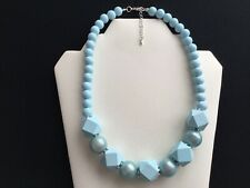 Women's Pale Blue Bead Necklace