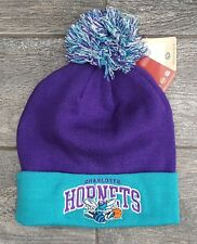 Charlotte Hornets Beanie NBA Basketball Knit Pompom Mitchell & Ness Purple Teal