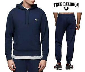 True Religion Men's Tracksuit 2 Piece Soft Cotton Jogger & Hoodie Navy S - 3XL