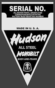 Hudson Data Plate MONOBILT BODY AND FRAME VIN ID Identification Can make others