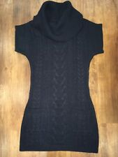 Ladies Navy Jumper Dress, New Look.Knitted Roll Neck Short Sleeve Cable Knit