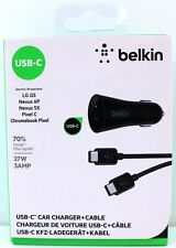 Belkin USB-C Car Charger & Cable 1.2m 4FT 27W 3AMP Black New