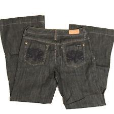 Seven7 Women's Wide Trouser Leg Jeans Size 28 Dark Black Wash