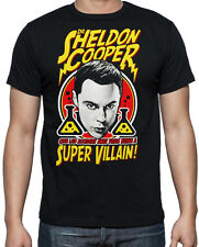Big Bang Funny Sheldon Cooper Super Villain Geek Nerd Science Mens Black T Shirt
