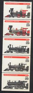 US. 2843-47. 29c. Locomotives. 2847a. Pane of 5. MNH. 1994