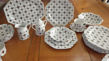 Vintage Ironstone Dinnerware Set Homespun Brown by Meakin, J & G 35 pieces