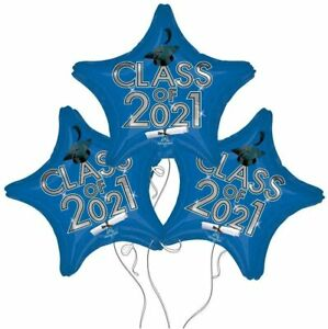 Set of 3 Blue Star Graduation Class of 2021 Party balloons decorations supplies