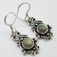 "Silver Round Labradorite Art Earrings 1.3"" New Trend Tibetan Jewelry, 925 Pure"