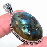 "Labradorite Ethnic Handmade 925 Silver Jewelry Pendant 1.97"" VS-2075"