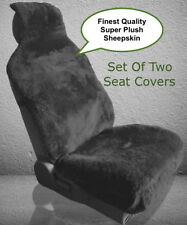 SHEEPSKIN SEAT COVERS SEAT WRAPS TWO PLUSH TOP QUALITY AUSTRALIAN CHARCOAL ©