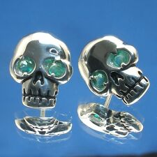 Human Skull Earrings, Colombian Emerald eyes, hand crafted sterling silver