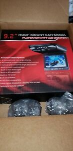 "9.2"" Black Flip Down Car Monitor DVD/USB/SD Player + Headphones"
