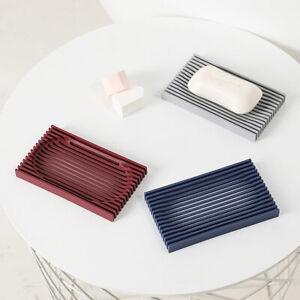 Silicone Soap Dish Holder Bathroom Shower Soap Storage Box Tray Non-slip Plate