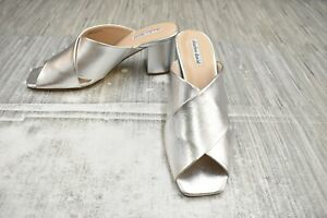 **Charles David Crissaly Leather Dress Sandals, Women's Size 9.5, Silver NEW