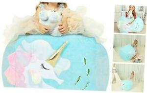 Unicorn Chair for Girls, Stuffed Animal Storage Bean Bag Colorful Seahorse