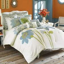 Anthology Nasha Twin XL Comforter Set Blue Green Shabby Chic Floral Girl's Room