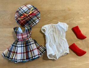 """Vintage Plaid Skirt-Hat-Red Socks-White Blouse/Undie For 14"""" Compo Mary Hoyer"""