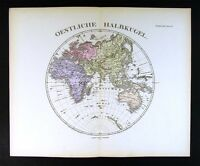 1876 Steiler Map Eastern Hemisphere Europe Africa Asia Australia World Antique