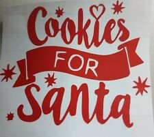 6 Cookies for Santa Glass Vinyl Decal Stickers in Red