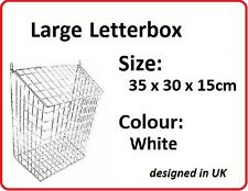 LETTERBOX CAGE Post/Door/Letter/Mail/Box/Guard WHITE Large
