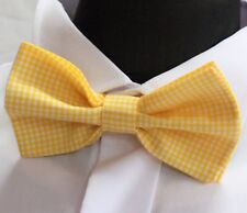 Bow Tie. UK Made.Yellow Gingham. Cotton. Premium Quality. Pre-Tied.