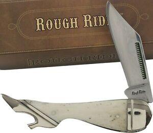 Rough Rider White Smooth Bone Handles Leg Pocket Knife RR148 Folding Blade