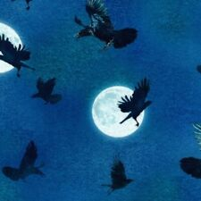 RAVEN MOON CROWS FULL MOON HALLOWEEN QUILTING FABRIC NO. 32