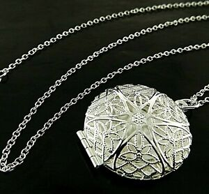 Necklace Real 925 Sterling Silver Filled Ladies Statement Locket Pendant Chain