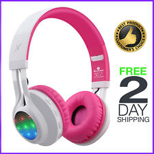 Wireless Bluetooth Headphones LED Lights Kids Girls Headset Micro Control Pink