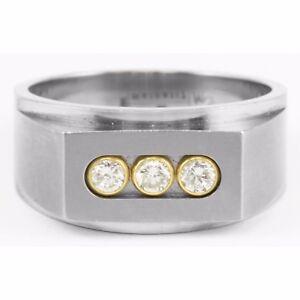 Edward Mirell Gray Titanium 18k Gold 3 Stone Diamond Ring Past Present Future