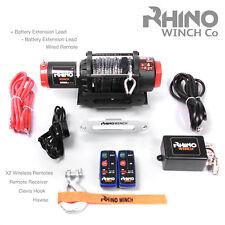 12v Electric Rhino Winch 4500lb Dyneema Synthetic Rope Wireless Heavy Duty