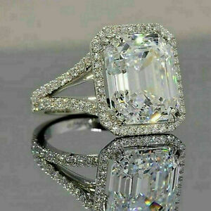 4Ct Emerald Cut Moissanite Diamond Engagement Wedding Ring 14K White Gold Finish