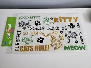 Cat food mat keeps floor clean catnip sample included