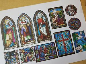 STAINED GLASS CHURCH WINDOWS self adhesive dolls house 1:12th 1:24th 1:48 scale