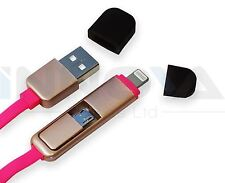 2 in 1 Micro USB Lightning Connector Charger Adapter Cable iPhone Android Pink