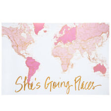 Shes Going Places Map Canvas Pink White Wall Hanging Beautiful Home Decor New