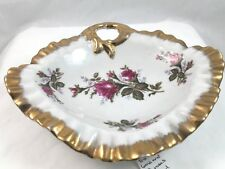 Vintage Porcelain Dish With Red Roses and Gold Trim with 20/6M marking on bottom