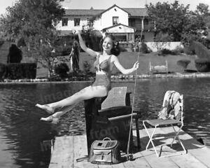8x10 Print Janet Blair Poses at Toluca Lake Dock California 1941 #8892