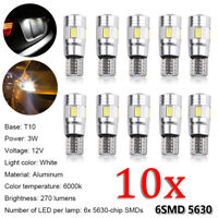 10x T10 3W 6 SMD 5630 LED W5W Car Wedge Dash Canbus Bulb Parking Lamp Side Light