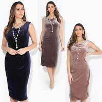 Womens Ladies Velour Shift Dress Cowl Neck Knee Long Pencil Skirt