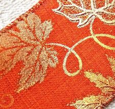 """2-Yd 2.5/"""" FALL Burgundy/&Coral Leaves Glitter Speckled Tan-Brown Wire-edge Ribbon"""