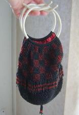 Stunning ART DECO Ruby & Black Glass Beaded Tassel Bag Cream CELLULOID Handles