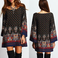 Women's Tunic Dress, Long Sleeve Scoop Neck Bohemian Style Casual Top