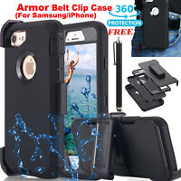 Shockproof Hybrid Heavy Duty Hard Case & Belt Clip Holster For iPhone 6s Samsung