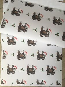 Santa Sloth Wrapping Paper Christmas Paper For Smaller Gifts Read Description