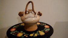 """ANTIQUE FRENCH VALLAURIS """" FRESH WATER """" VESSEL /JUG/CANTEEN"""