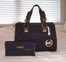 NWT Michael Kors Med GRAYSON Satchel Bag & Austin Flat Cont Wallet MK Sig Jacq