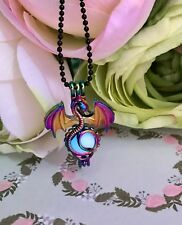 Final Fantasy Rainbow Chrome Dragon Locket with Blue Glow In The Dark Orb