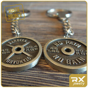 Sport Accessorie Bodybuilding Weight Plate Key Chain Standard Barbell Keyring